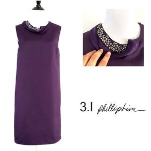 3.1 Phillip Lim Purple Embellished Satin Dress